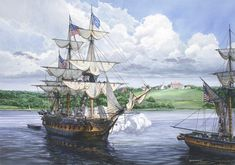 """""""Salute To Washington,"""" by Tom Freeman. """"USS Congress"""" rendering honors to the memory of George Washington in 1801."""