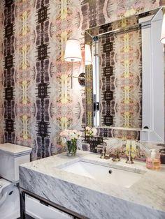 Alexandra Kaehler Design : powder room with Lindsay Cowles wallpaper