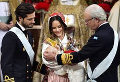 Proud parents Prince Carl Philip and Princess Sofia of Sweden (pictured with King Carl Gustaf) held the christening for their youngest son Gabriel at the rottingholm Palace Chapel on Friday
