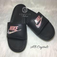 Custom Nike Sandals - ROSE Color - Bedazzled Nike JDI Slides - Black and  Pink Rose - All Sizes - Sparkly Nike Slides a25558883