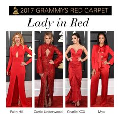 """""""2017 Grammys Trend: Lady in Red"""" by polyvore-editorial ❤ liked on Polyvore featuring RedCarpet and Grammys"""