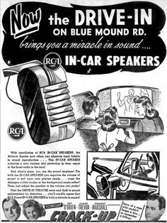 I just wanted to let all of you know that today, June is the anniversary of the drive-in movie theater. The first drive-in theater was opened in New Jersey by Richard M. Retro Advertising, Vintage Advertisements, Vintage Ads, Vintage Photos, Vintage Tiki, Retro Ads, Vintage Tools, Vintage Stuff, Vintage Photographs