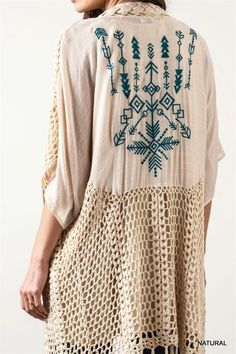 HIPPIE-CHIC VEST KIMONO EMBROIDERED CROCHET & FRINGE NATURAL CARDIGAN JACKET 1X #SSCC #Vest