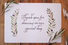 FREE printable: olive branch placemat with a beautifully lettered thank-you message