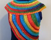 Funky COWL-VEST, WOOL, Rainbow, multicolor, chunky crochet, knitted, warm, festival, huntress cross-body, Katniss cowl