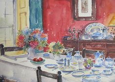 Art For Sale, Watercolour, Ink, Breakfast, Interior, Table, Painting, Pen And Wash, Morning Coffee
