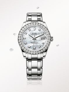 The Rolex Pearlmaster 39 in white gold, with a diamond-set mother-of-pearl dial and Pearlmaster bracelet.