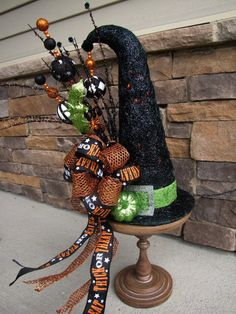 Lighted Witch Hat Halloween Table Decoration by TheWrightWreath