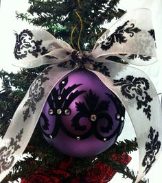 Awesome Purple ornament with black damask. Love this!