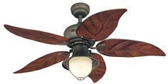 Designed especially for patios, verandahs, and gazebos, the Oasis brings indoor comfort outdoors. Uniquely styled, this indoor/outdoor ceiling fan evokes the beauty of nature with its rustic oil rubbe