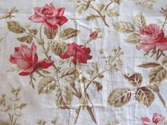 Antique Textile Red Pink Roses Olive Green Leaves Fabric 19th Century | eBay Vintageblessings