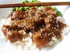 SESAME CHICKEN  PF Chang's Copycat Recipe   Serves 2   1/2 cup brown rice  1/4 cup honey  2 tablespoons sesame seeds  2 tablespoons soy...
