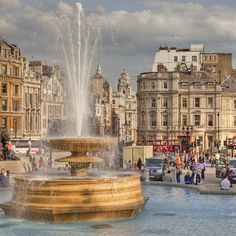 Trafalgar Square, London - my hotel was across the street from Trafalgar Square.  Four days of wonderful fish and chips, outdoor markets, beer gardens and meeting lots of people out at night.  Magical -  better than Disneyland
