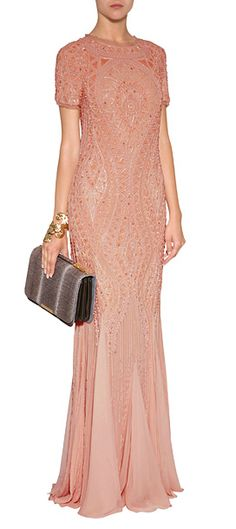 A stunning choice for your most fancy events, Emilio Pucci's powder pink silk gown features exquisite tonal embellishment and an oversized bow at the nape #Stylebop