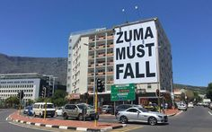 A Zuma Must Fall banner was erected in Cape Town on 15 January Picture: Thomas Holder/EWN. News South Africa, Jacob Zuma, Fall Banner, African History, Cape Town, Really Cool Stuff, Places To Visit, Around The Worlds, Mcdonald's Restaurant