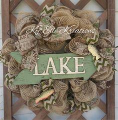 Fishing Wreath, Fishing Deco Burlap Moss Wreath w/ Lake Sign, Wreath, Moss Wreath, Father's Day Wreath, Outdoor Wreath, Woodland Wreath,Fish by KyElleKreations on Etsy https://www.etsy.com/listing/233415136/fishing-wreath-fishing-deco-burlap-moss