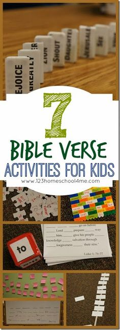 7 Bible Verse Activities for Kids - These are such fun, hands on activities for kids to practice any Bible verse! These work for any kids that are reading (1st-6th grade). Great for Sunday School Lessons!!
