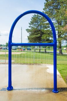 My Splash Pad Mist Bar Hoop is a curtain of water that the kids love.  Made from Marine Grade Fiberglass for strength and safety. Read more why we chose fiberglass over stainless for all of our water play features.