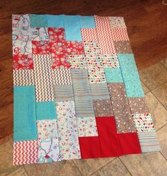"""Giant Plus Baby Quilt: A written tutorial and worksheet using fat quarters, 7"""" squares and rectangles."""