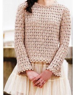 Crochet Knitting Handicraft: A lace jumper with a patterned edge is crocheted. Pull Crochet, Gilet Crochet, Crochet Cardigan, Love Crochet, Beautiful Crochet, Diy Crochet, Crochet Stitches, Crochet Patterns, Crochet Design