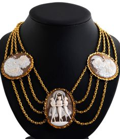 An antique gold and cameo necklace, about 1870.
