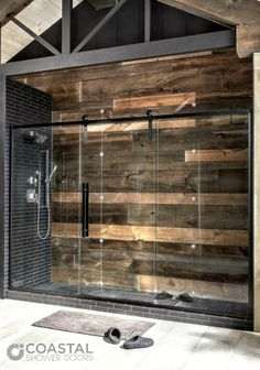 Check out the new Eclipse Series by Coastal Shower Doors. With a barn door style sliding glass panel mounted between 2 adjacent heavy tempered glass panels this new shower enclosure line is ideal for larger shower openings. - June 15 2019 at Rustic Bathroom Designs, Rustic Bathrooms, Modern Bathroom, Small Bathroom, Bathroom Ideas, Bathroom Mirrors, Bathroom Organization, Master Bathrooms, Bathroom Inspiration