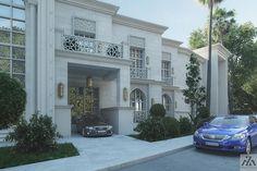 Arabic Villa on Behance Villa Design, Facade Design, Exterior Design, House Design, Map Design, Classic House Exterior, House Outside Design, Woodland House, Neoclassical Architecture