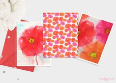Watercolour floral greeting card designs by www.mandyjoy.com