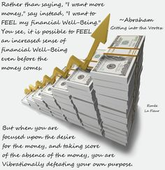 """Abraham-Hicks Quote. """"I want to FEEL my Financial Well-Being!"""""""
