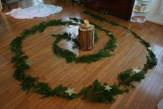 Advent spiral. Would be to make on Xmas eve.   Set it up and light candles and say a verse for each