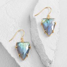 Gold Triangle Labradorite Drop Earrings