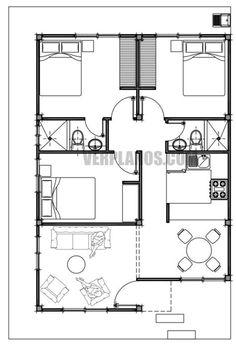 Duplex Floor Plans, Bungalow Floor Plans, Home Design Floor Plans, House Floor Plans, Simple House Plans, Simple House Design, Craftsman House Plans, Dream House Plans, House Layout Plans