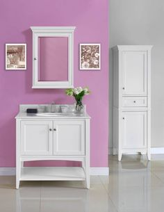 """Need a beautiful vanity for a girl's bathroom? Look no further than the Shaker Americana 36"""" vanity! It offers clean lines; exceptional durability and the fine craftsmanship of a vintage vanity. It enhances any bathroom setting with its sensible and gracious style that is as popular today as it was in the 19th century. It retails starting at $945 and offers plenty of storage with an open shelf as well!"""