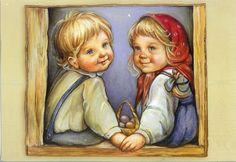 russian Art work image | Russian Children ~ A. Larionova | Remembering Letters and Postcards