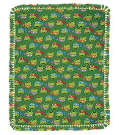 "Teenage Mutant Ninja Turtle Heads Toss 48"" No Sew Throw Easy and fun crafts to make for kids Ninja Turtles (aff link)"