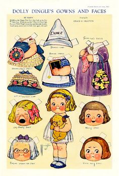 An entire pinboard dedicated to paper dolls ~ Dolly Dingle   Dolly Dingle's gowns and faces