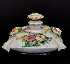 19TH C. FLOWER ENCRUSTED MEISSEN PERFUME BOTTLE