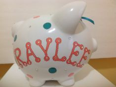 Personalized Large Piggy  Bank Coral Teal  by KUTEKUSTOMKREATIONS