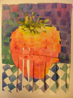 15x11 watercolor of a very large strawberry painted twice on separate 140 lb cold press Kilimanjaro paper, then cut one into horizontal st...