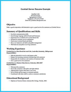 nice impressive bartender resume sample that brings you to a bartender job