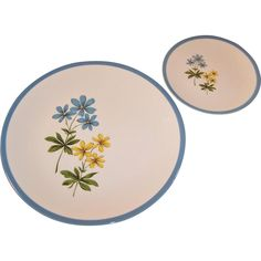 Homer Laughlin Color Harmony Blue Duchess Dinner and Bread Plate from ruthsredemptions on Ruby Lane Syracuse China, Ohio River, Color Harmony, Homer Laughlin, Ruby Lane, Pottery, Bread, Plates, Dishes