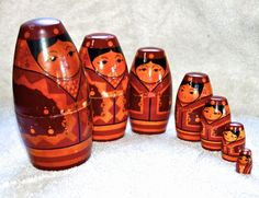 Vintage 7 piece Hand Painted Russian Matryoshka Nesting Doll DRuzba Girl, 6""
