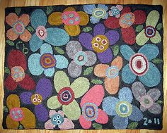 Details About Rug Hook Paper Pattern Folk Art Blooms Modern Abstract By Karla G