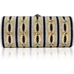 Judith Leiber Couture Clark Cylinder Crystal Clutch Bag ($1,190) ❤ liked on Polyvore featuring bags, handbags, clutches, champagne multi, handbags clutches, judith leiber clutches, crystal clutches, judith leiber handbags, beaded purse and crystal purse