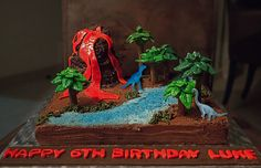 And it began with a cake… Volcano Cake, Cupcake Cakes, Cupcakes, Baked Bakery, Sea Cakes, Boy Birthday, Birthday Cakes, Dinosaur Party, No Bake Cake