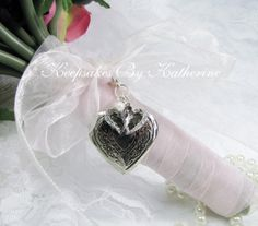 Heart Locket Bridal Bouquet Charm featuring two crystal covered hearts by Keepsakes By Katherine,