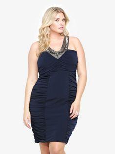 Embellished Neckline Ruched Dress // #homecoming!