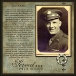 Photo Idea for Family Who Served: Served With Honor.military page with combination of personal, family journaling with facts from that era. I really like the simple design that highlights the photo and writing. Heritage Scrapbook Pages, Vintage Scrapbook, Scrapbook Page Layouts, Scrapbook Examples, Scrapbook Designs, Family History Book, Old Family Photos, Family Genealogy, Album Photo