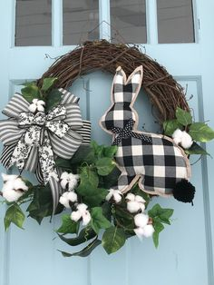 black and white plaid bow & bunny Cotton Accents Elegant All Season Grapevine Wreath for Door. Wreaths, wreaths for front door, farmhouse, - black and white plaid bow & bunny Cotton Accents Elegant All Season Grapevine Wreath for Door. Easter Wreaths, Holiday Wreaths, Holiday Crafts, Spring Wreaths, Diy Wreath, Grapevine Wreath, White Wreath, Wreaths For Front Door, Door Wreaths