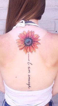tatouage d& tournesol © Jaime Bryn Sunflower Tattoo Simple, Sunflower Tattoo Shoulder, Sunflower Tattoos, Sunflower Tattoo Design, Mama Tattoo, Tattoo Son, Piercings, Piercing Tattoo, Spine Tattoos
